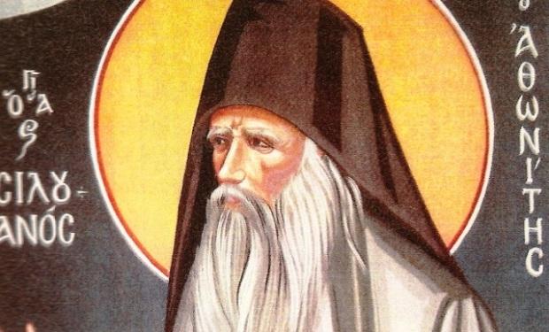 Св. Силуан Атонски, стенопис от светогорския манастир Ксиропотам